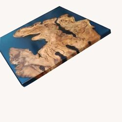 Solid Wooden Blue Epoxy Luxury Custom Order Wood Ocean River Decor Made To Order