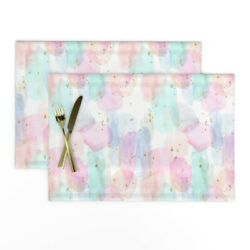 Cloth Placemats Abstract Watercolor Rainbow Nursery Stars Gold Set of 2