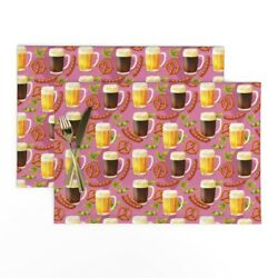 Cloth Placemats Funny Fall Drinking Beer Octoberfest Bratz Hops Set Of 2