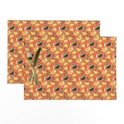 Cloth Placemats Tacos Beer Guacamole Salsa Chips And Salsa Mexican Set Of 2