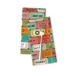 Ticket Retro Tickets Colorful Cotton Dinner Napkins By Roostery Set Of 2