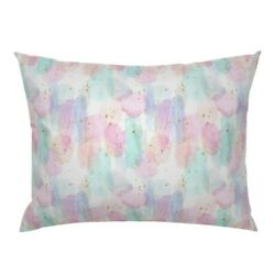 Abstract Watercolor Rainbow Nursery Stars Gold Pillow Sham by Roostery