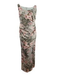 Adrianna Papell Women's Plus Size Floral Ruched Gown 20w, Green/blush