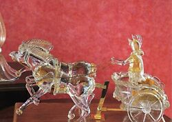Figure In Murano Glass Sculpture Biga Crystal And Gold Romano And Horse Art