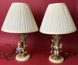 M.i. Hummel Apple Tree Boy And Apple Tree Girl Lamps W/ Shades Working Condition