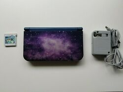 Nintendo New 3ds Xl Purple Galaxy System -- With A Charger + Pokemon X -- Tested