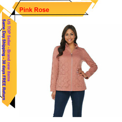Denim And Co. Long Sleeve Lace Zip Front Jacket A286345 New Antique Rose L