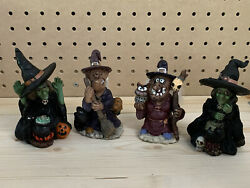 Ks Collection Troll Witches Figurines Resin Black Cat Broom Halloween Rare Skull