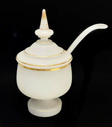 French White Opaline Glass And Gilt Lidded Sauce Tureen With Ladle Circa 1930