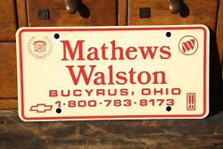 Mathews Walston Chevrolet Cadillac Buick Dealer License Plate Vintage Tag Sign