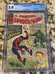 Amazing Spider-man 5 Cgc 5.0 Ow/wh Pgs 1st Dr Doom Crossover Silver Age Key Mcu