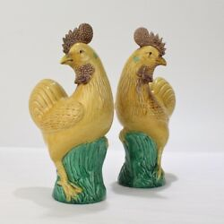 Pair 2 Old Or Antique Yellow Chinese Pottery Rooster Or Cockerel Figurines - Pc