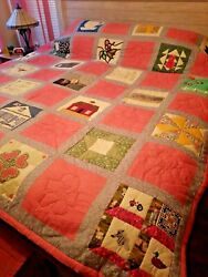 Vintage King Size Quilt From Historic Town Of Guinda Ca. Group Made W/signatures