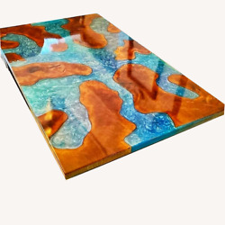 Epoxy Poplar Wood Dining Table Walnut Epoxy Resin River Top Decor Made To Order