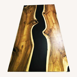Black Epoxy Solid Wooden Walnut Sofa Center Dining Table Decors Made To Order
