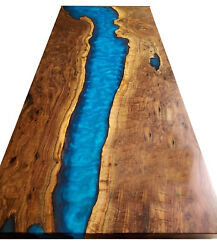 Blue Epoxy Resin River Table Hardwood Dining Table Blue Table Deco Made To Order