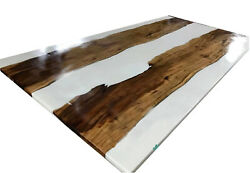 Custom Epoxy White Resin River Dining Walnut Epoxy Live Edge Table Made To Order