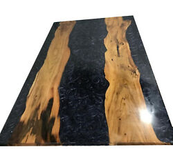 Black Epoxy Wooden Dining, Sofa, Center, Side, Table Natural Wood Living Decors