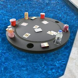 Floating Game Table Card Tray Pool Beach Float 36 Round Drink Lounge W Cards
