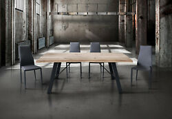 Table In Solid Wood Knot Open Structure Metal Various Sizes And Thicknesses