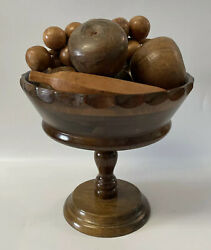 """Wood Handcrafted A Price Import Fruit Pedestal Bowl 11"""" Banana Grapes Tomatoes"""