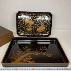 Lot Of 2 Edo Period Japanese Wooden Makie Lacquer Tray Flower Plants W/ Box