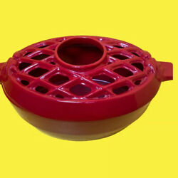 John Wright Red Cast Iron Wood Stove Oval Steamer Humidifier Pot With Lid. Rare