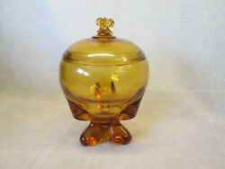 Viking Art Glass Three Foil Amber Gold Covered Lidded Candy Dish Compote