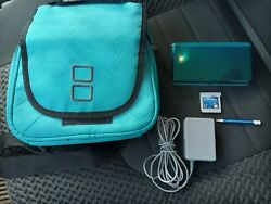 Nintendo 3ds Portable Gaming Console - Aqua Blue W/ Charger Case And Game Tested