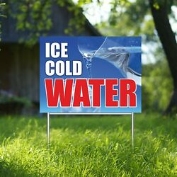 Ice Cold Water Yard Sign Corrugate Plastic With H-stakes Drinks Lemonade Soda