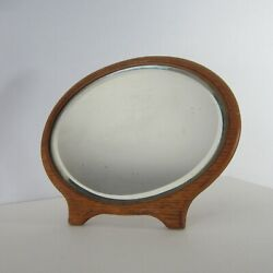 Antique Small Oval Oak Beveled Glass Mirror Stand Up Vanity Vintage Minimal