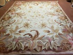 7and039 7 X 9and039 8 Needlepoint Rug Floral Beige Flat Weave Carpet 8x10 Handmade New