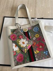 Gucci Bag Ophidia Gg Logo Flora Floral Leather Tote $1750.00