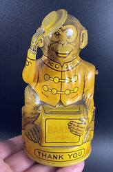 J. Chein And Co Antique Tin Litho Mechanical Tipping Hat Monkey Bank Vtg