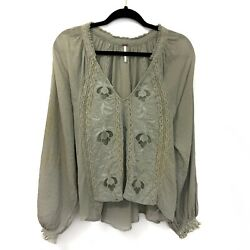 Free People Size Medium Green Boho Festival Floral Embroidered Sivan Blouse Top