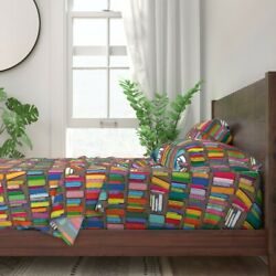 Book Shelf Books Library Reading 100 Cotton Sateen Sheet Set By Roostery