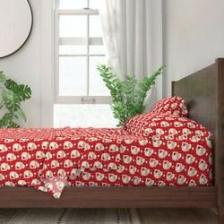 Vintage Santa Kitschy Holiday Christmas 100 Cotton Sateen Sheet Set By Roostery