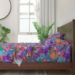 Chicken Rooster Bird Feathers Fowl 100 Cotton Sateen Sheet Set By Roostery