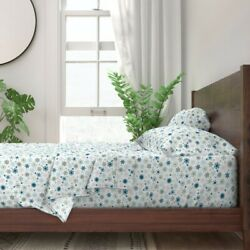 Snow Snowflakes Holidays Winter 100 Cotton Sateen Sheet Set By Roostery
