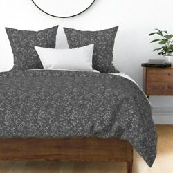 Constellations Dark Grey Charcoal Nursery Stars Sateen Duvet Cover by Roostery