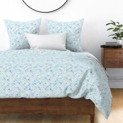 Blue Marble Mermaid Fish Scallop Marbled Scale Sateen Duvet Cover By Roostery