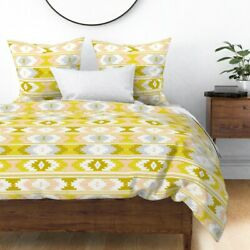 Blush Kilim Silver Saffron Canary Sateen Duvet Cover By Roostery
