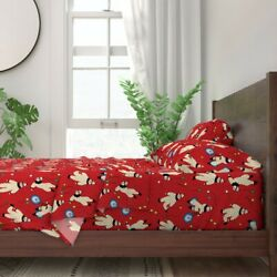 Kids Red Acrobat Children Balloons 100 Cotton Sateen Sheet Set By Roostery