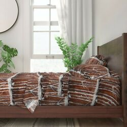 Wolf Birch Trees Forest Snow Woods 100 Cotton Sateen Sheet Set By Roostery
