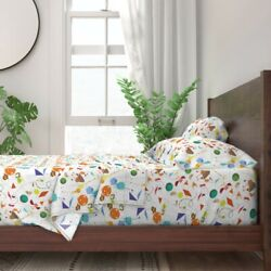 Stickers Animal Color Shape Kid Child 100 Cotton Sateen Sheet Set By Roostery