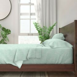 Mint Turquoise Texture Coordinate 100 Cotton Sateen Sheet Set By Roostery