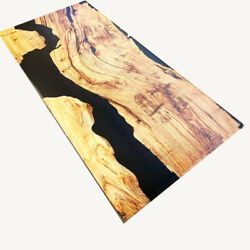 Luxury Furniture, Black Epoxy Table Top Oak Wood Dining Room Decor Made To Order
