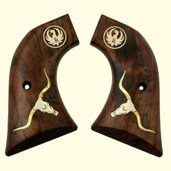 Ruger Vaquero Grips Walnut Wood With Long Horn Steer Head,ruger Silver Logo.