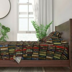 Books Literature Book Library Bookcase 100 Cotton Sateen Sheet Set By Roostery