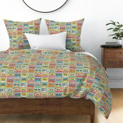 Retro Cassette Tape Vintage Inspired Audio Music Sateen Duvet Cover By Roostery